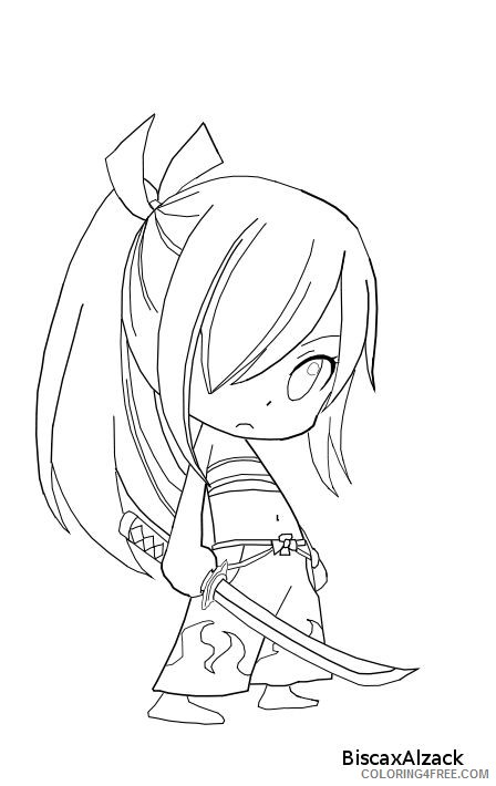 fairy tail coloring pages erza chibi Coloring4free