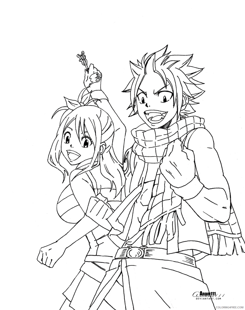 fairy tail coloring pages natsu and erza Coloring4free