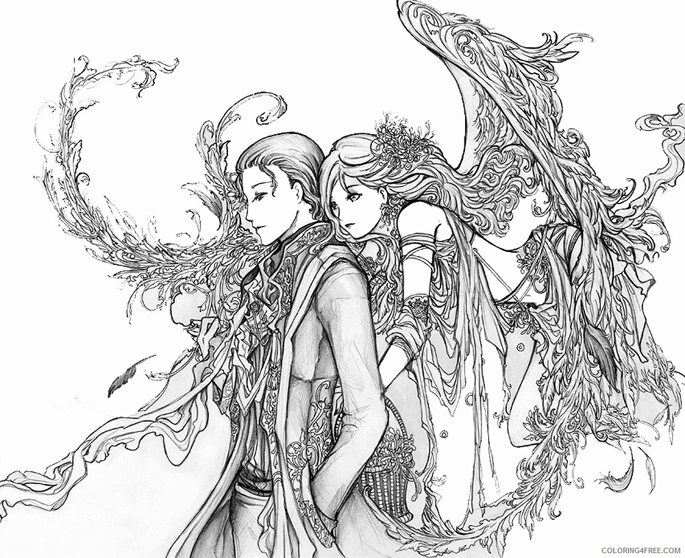 fantasy coloring pages angel Coloring4free