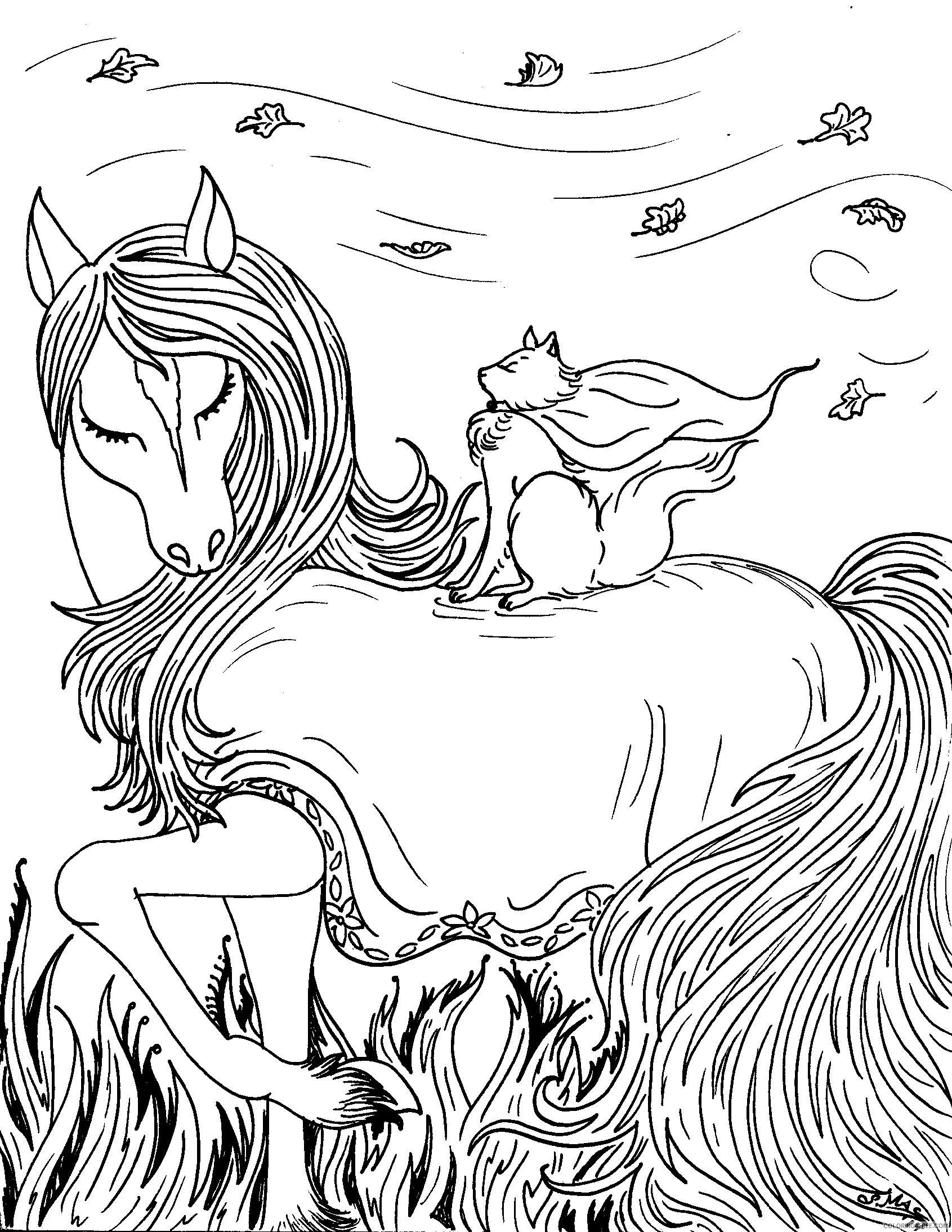 fantasy coloring pages horse and cat Coloring4free