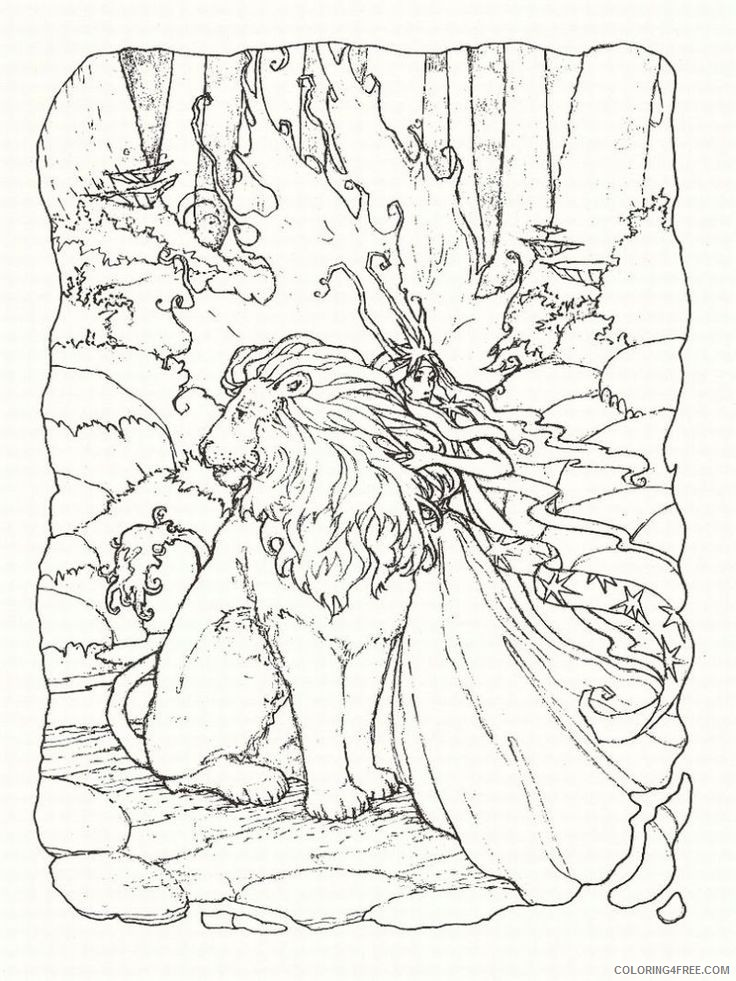 fantasy coloring pages lion and fairy Coloring4free