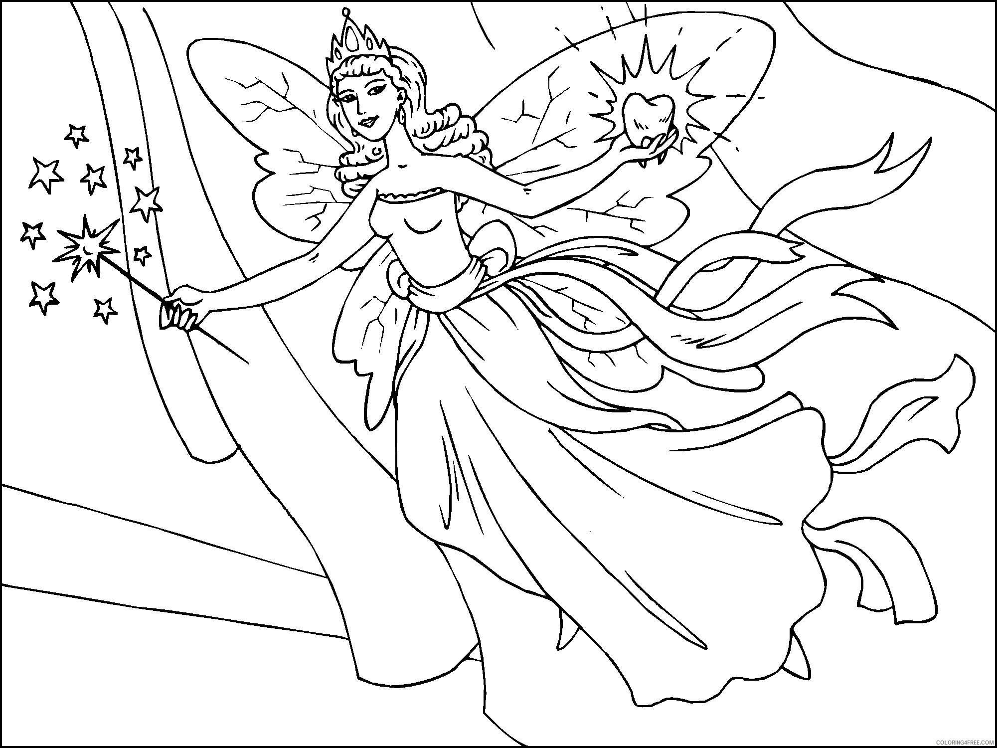 fantasy coloring pages tooth fairy Coloring4free