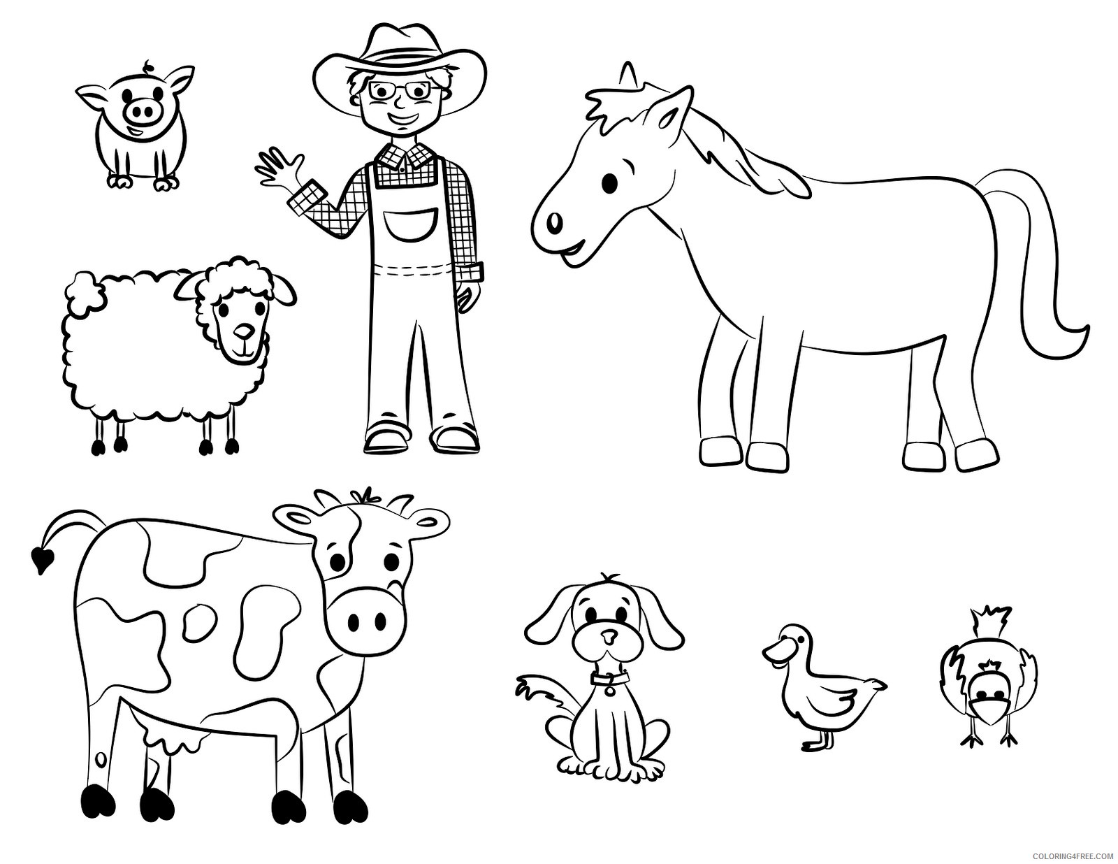 farm animal coloring pages and the farmer Coloring4free