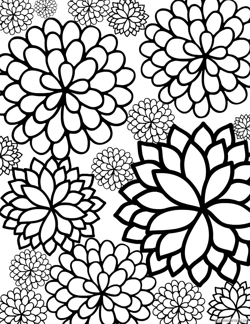 flower coloring pages for adults Coloring4free