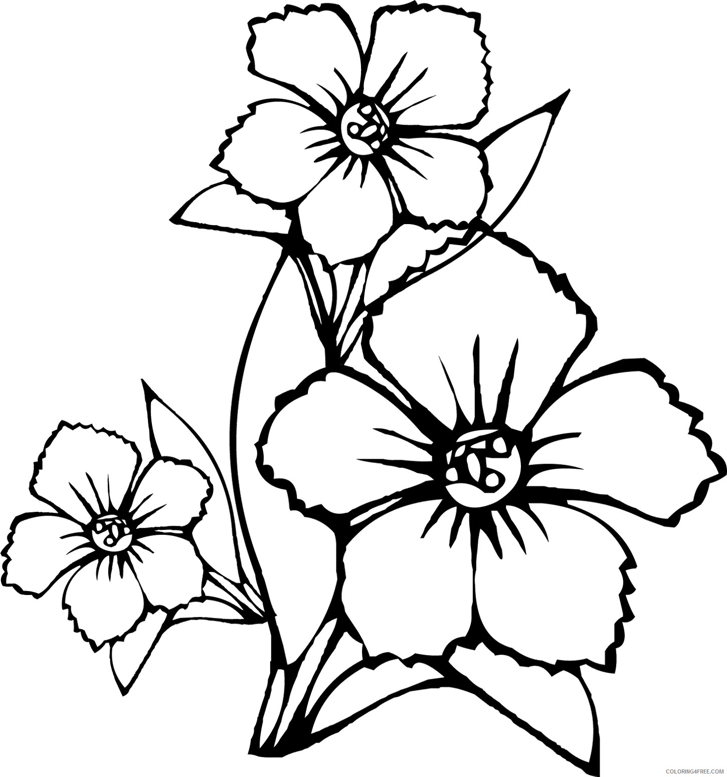 flower coloring pages free to print Coloring4free