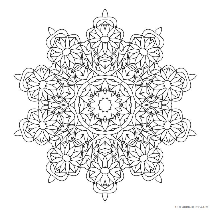 flower kaleidoscope coloring pages Coloring4free