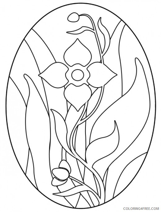 flower stained glass coloring pages Coloring4free