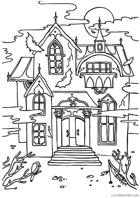 foggy haunted house coloring pages Coloring4free