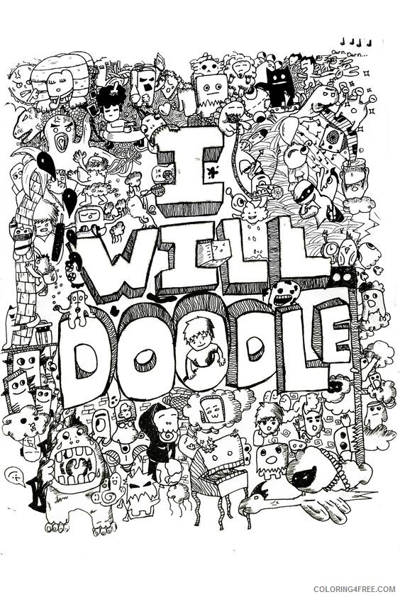 free doodle coloring pages for adults Coloring4free