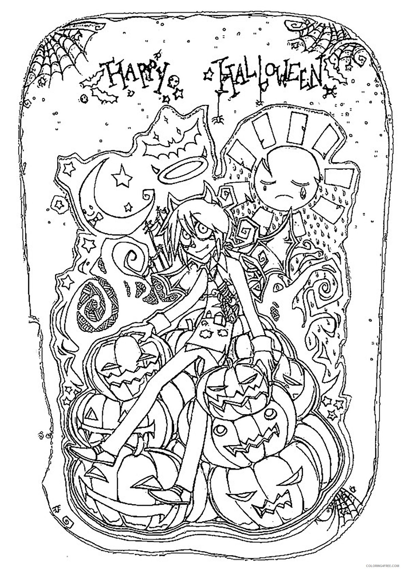 free happy halloween coloring pages for adults Coloring4free