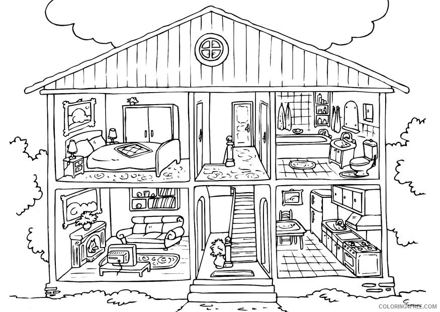free house coloring pages printable Coloring4free