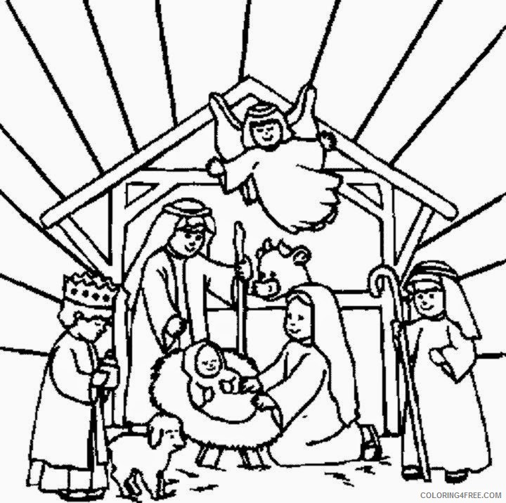 free nativity coloring pages printable Coloring4free