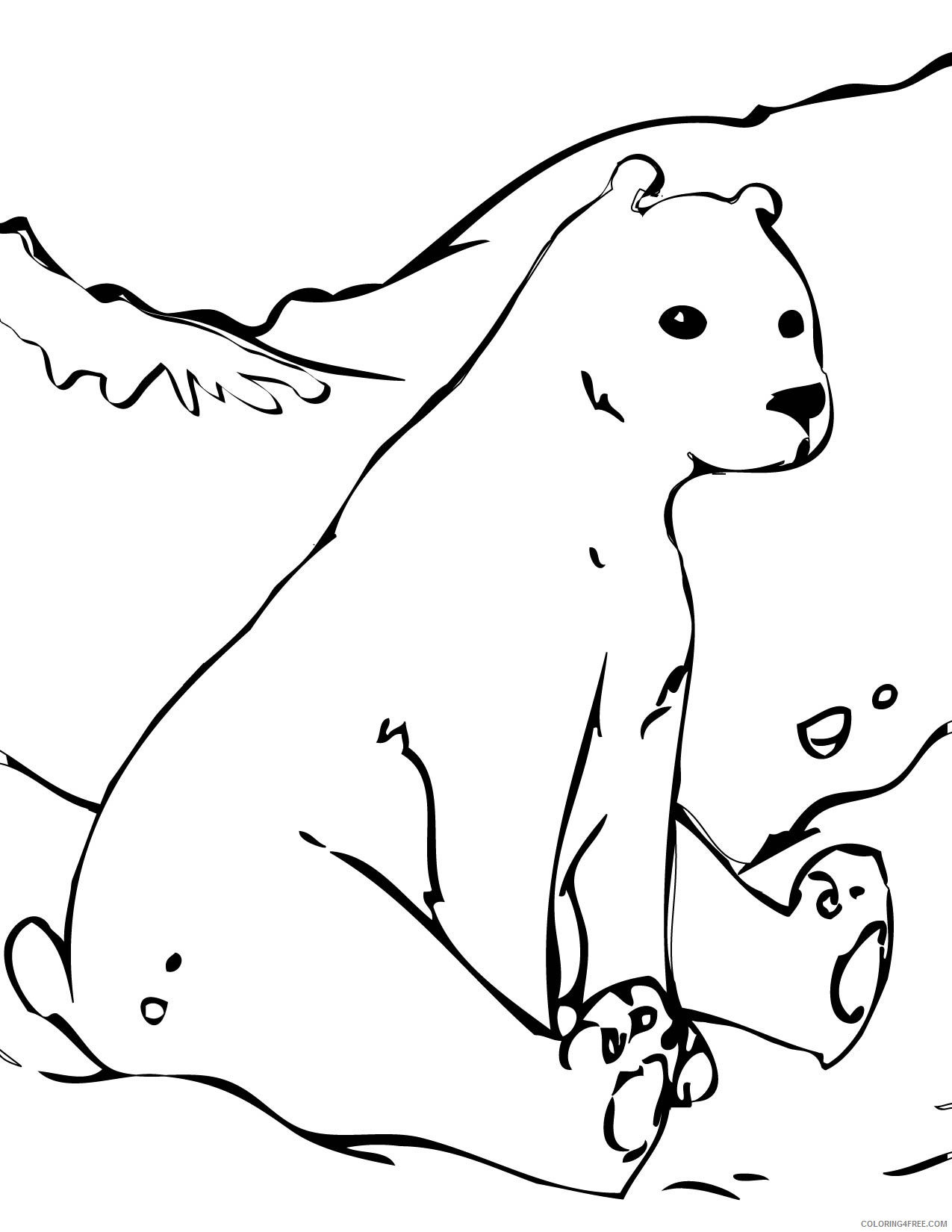 free polar bear coloring pages for kids Coloring4free