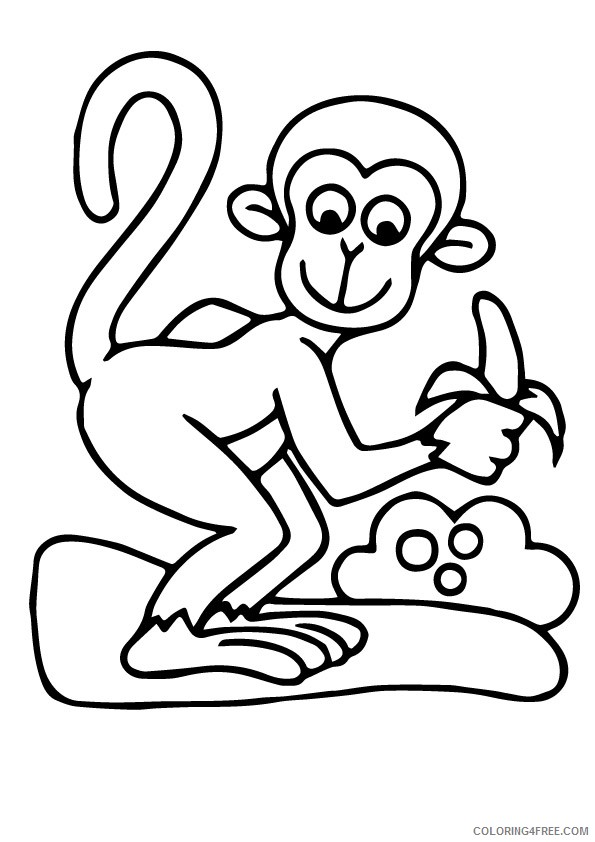 funny monkey coloring pages eating banana Coloring4free