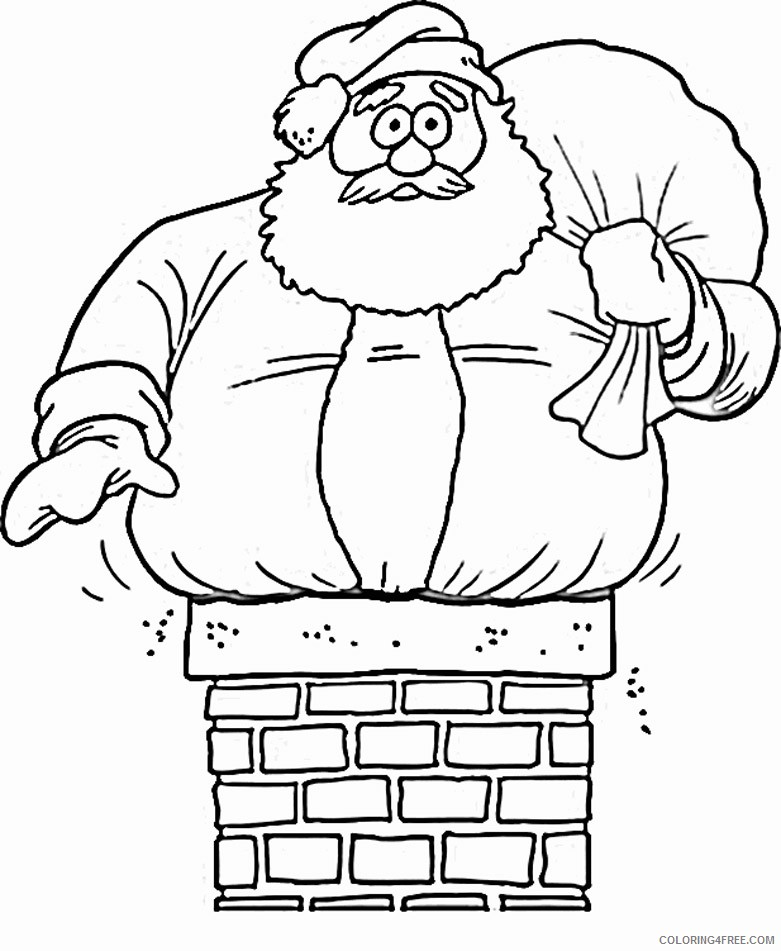 funny santa claus coloring pages in chimney Coloring4free