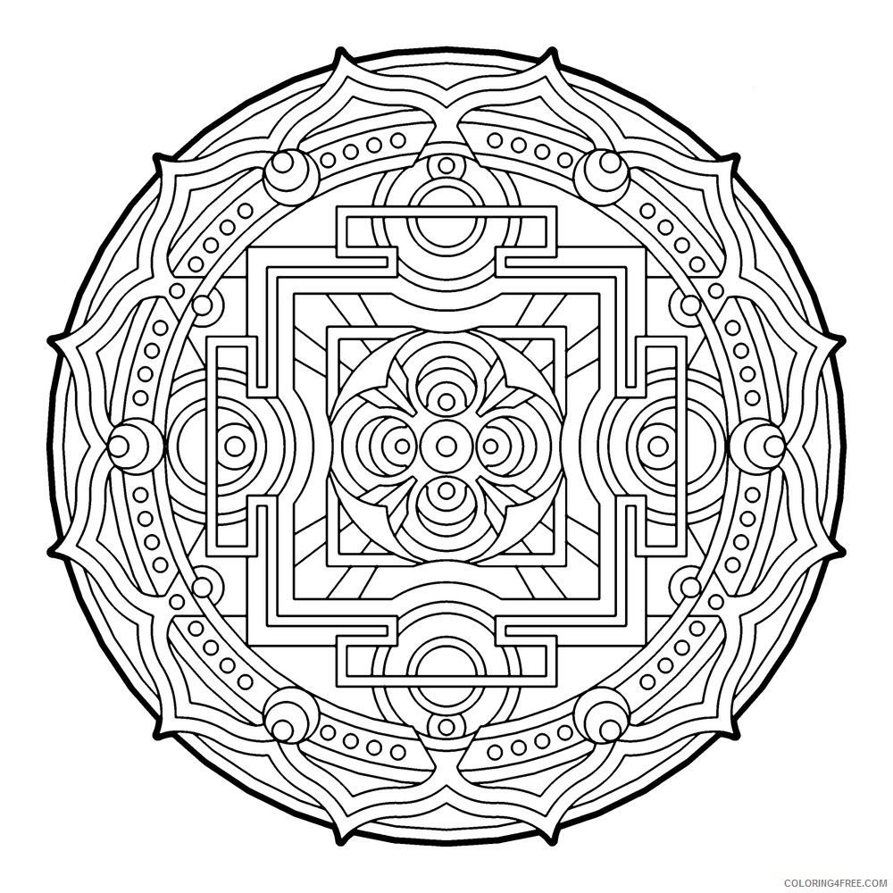 geometric circle coloring pages for adults Coloring4free
