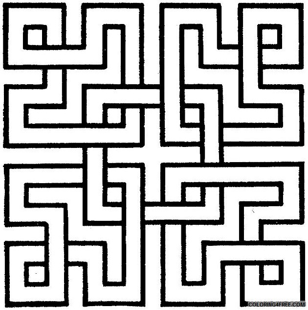 geometric coloring pages maze Coloring4free