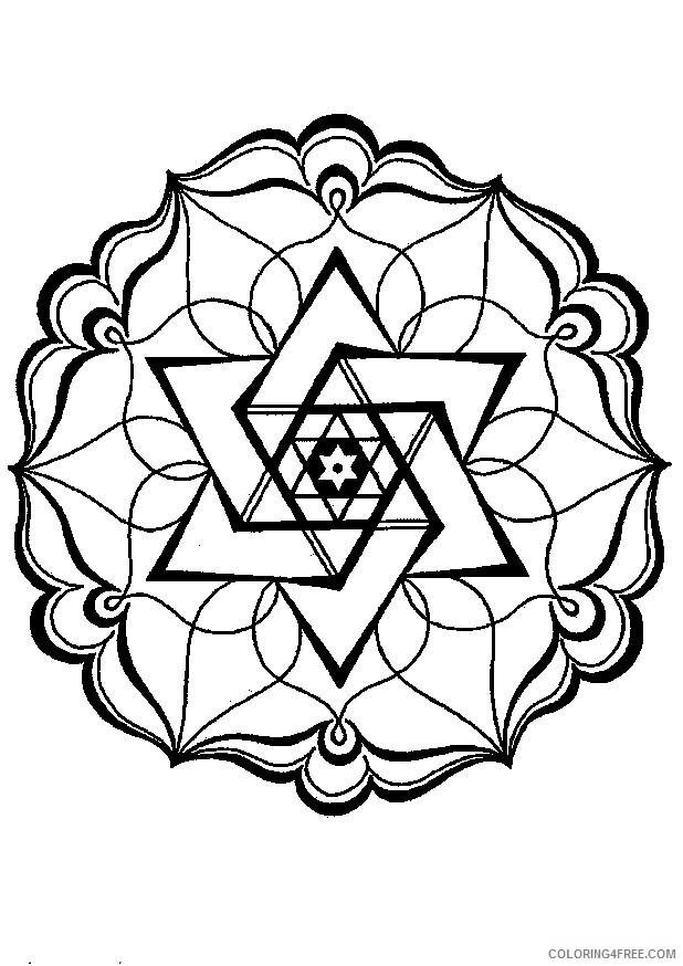geometric coloring pages star in circle Coloring4free