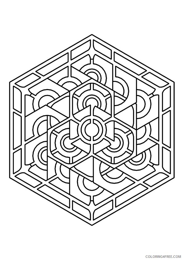 geometric kaleidoscope coloring pages Coloring4free