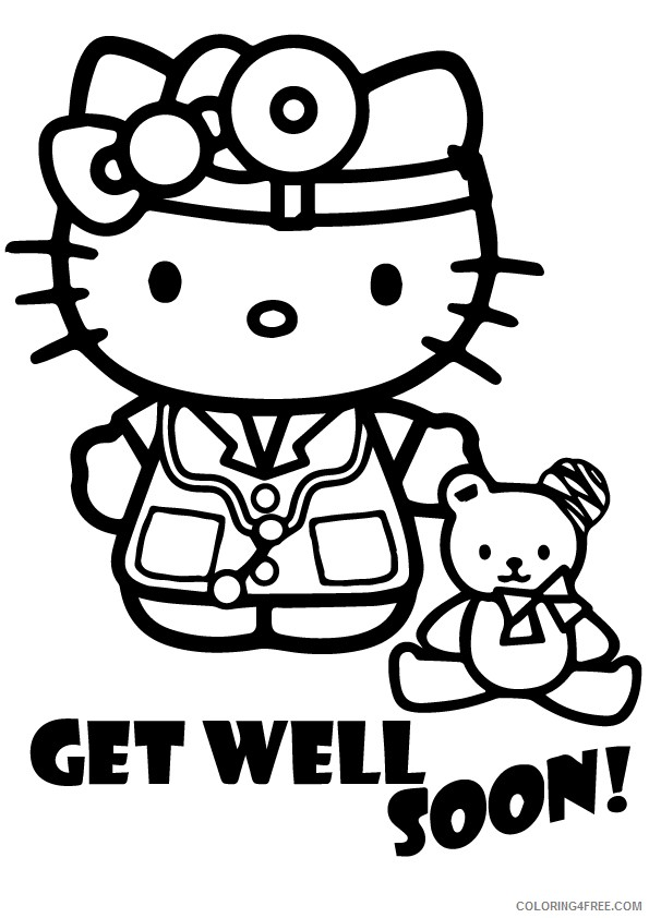 get well soon coloring pages hello kitty Coloring4free