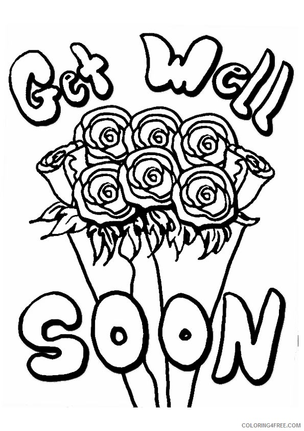 get well soon coloring pages roses bouquet Coloring4free