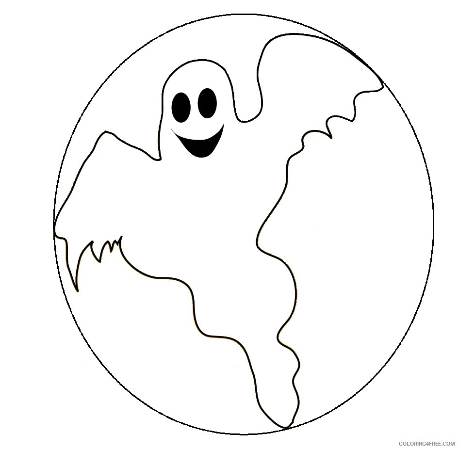 ghost coloring pages with moon Coloring4free