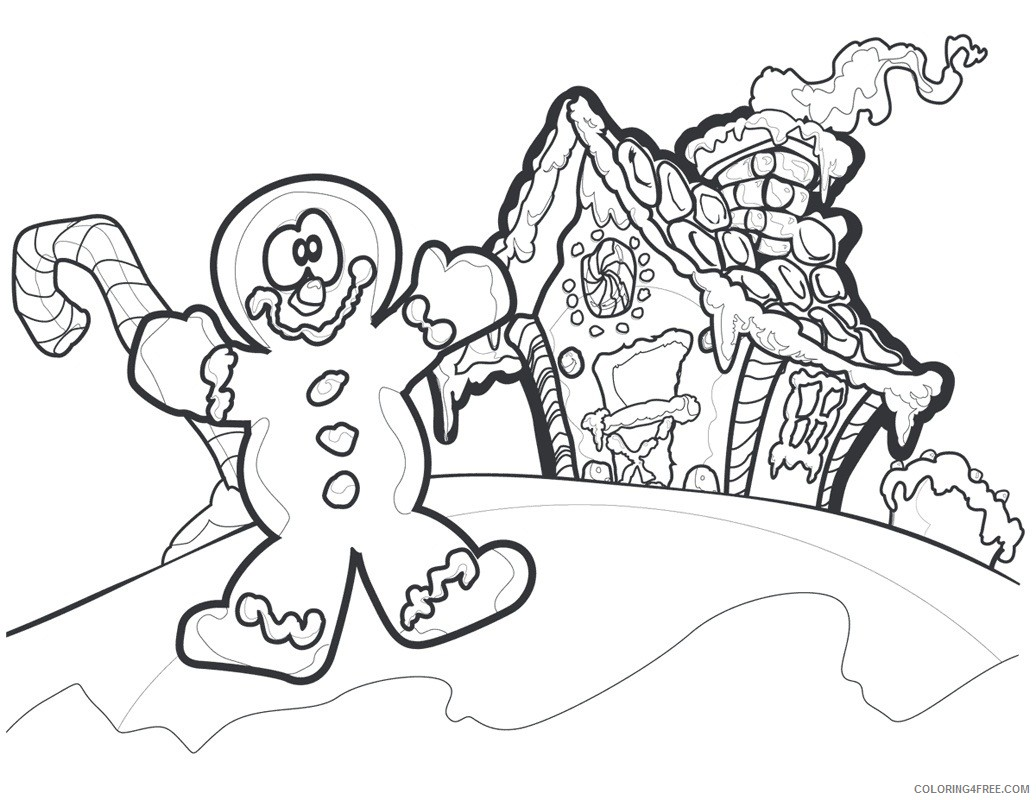 gingerbread man coloring pages and his house Coloring4free