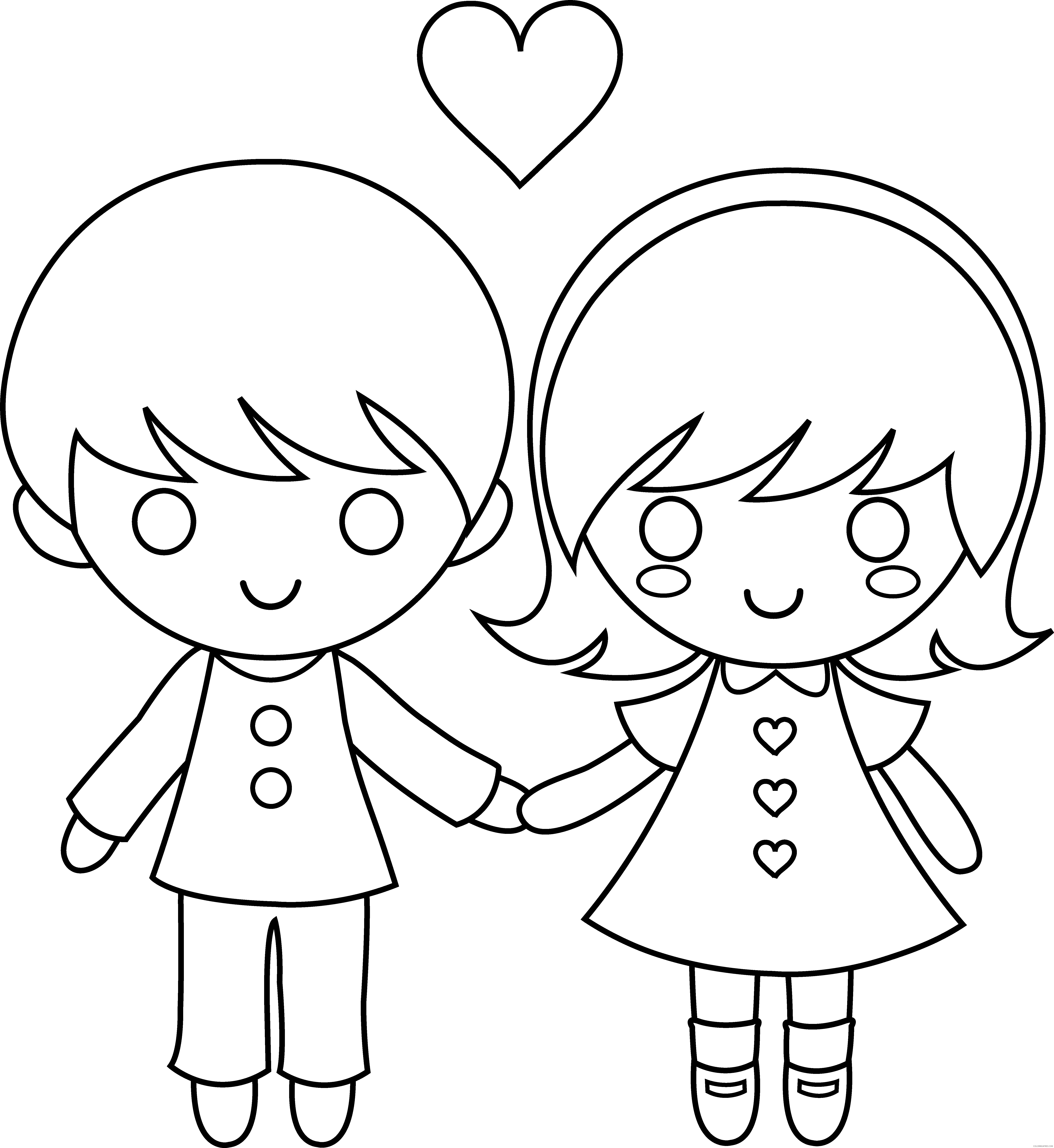 girls coloring pages couple Coloring4free