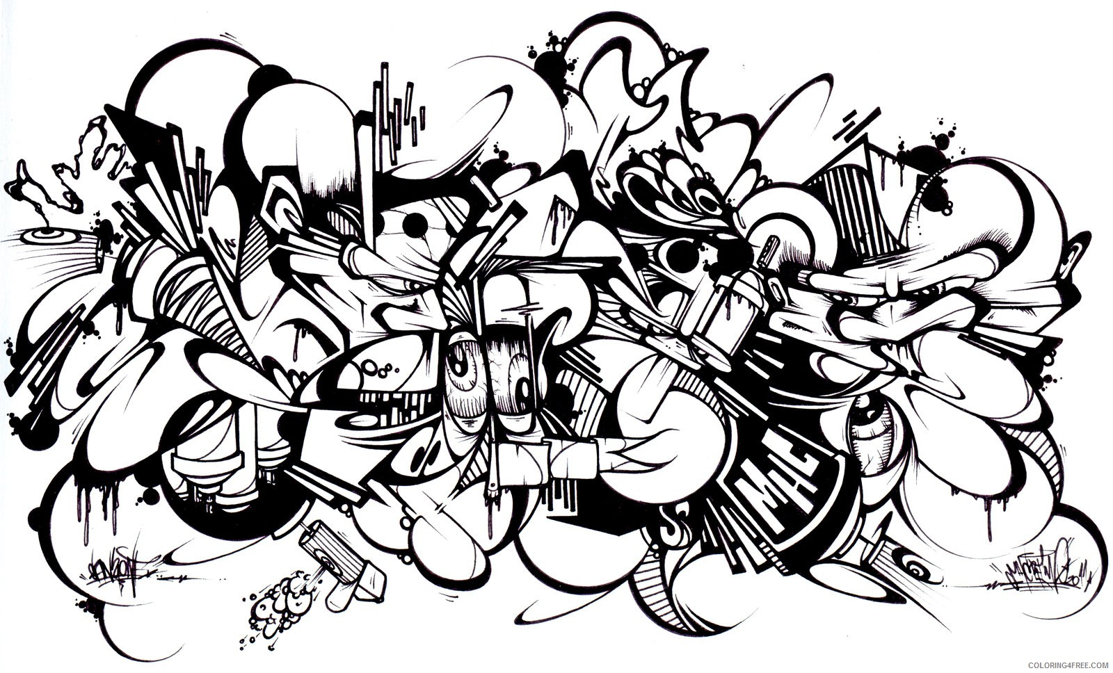 graffiti coloring pages for adults by sans Coloring4free