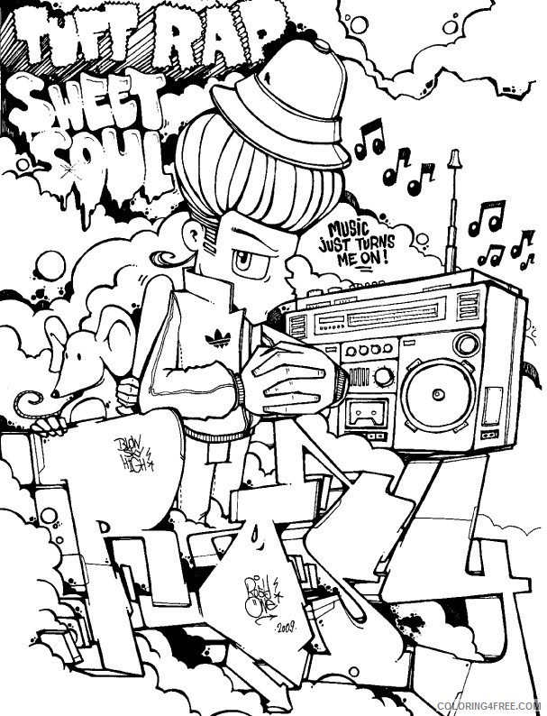graffiti coloring pages for teenagers Coloring4free