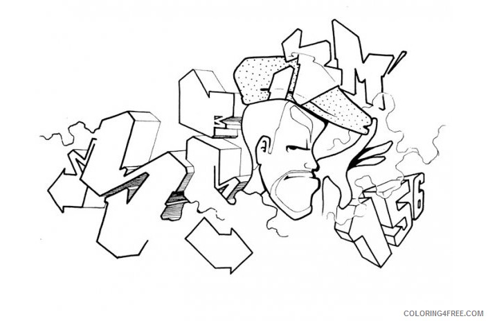 graffiti coloring pages free to print Coloring4free