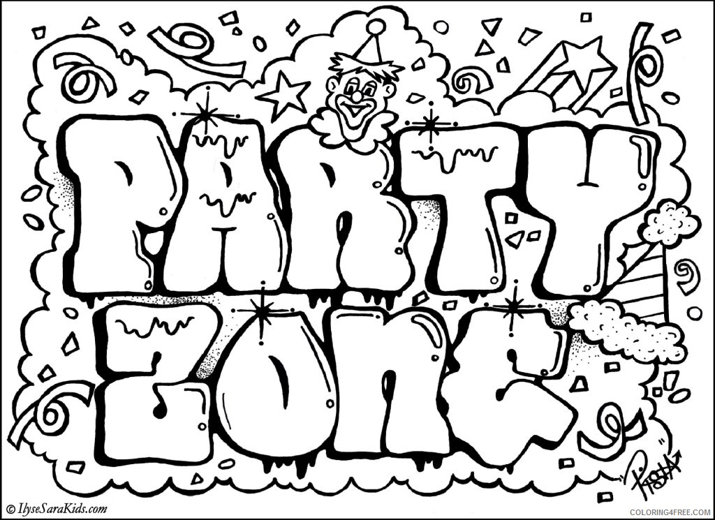 graffiti coloring pages party zone Coloring4free