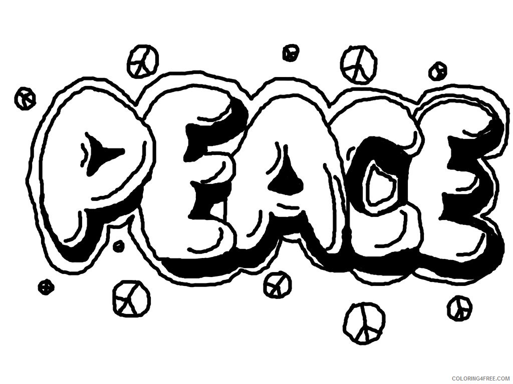 graffiti coloring pages peace Coloring4free