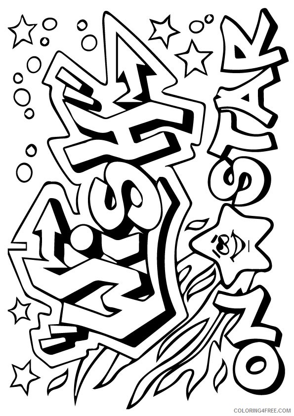 graffiti coloring pages shooting star Coloring4free