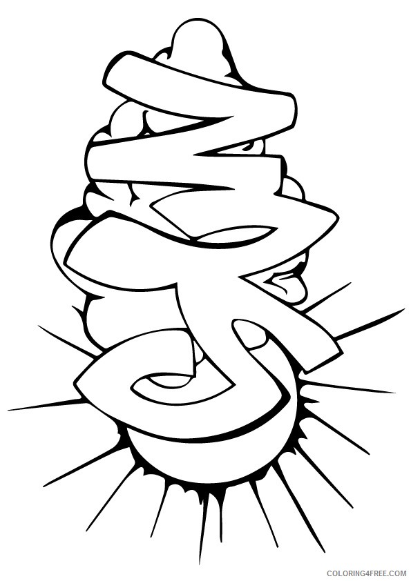 graffiti coloring pages sun clouds Coloring4free
