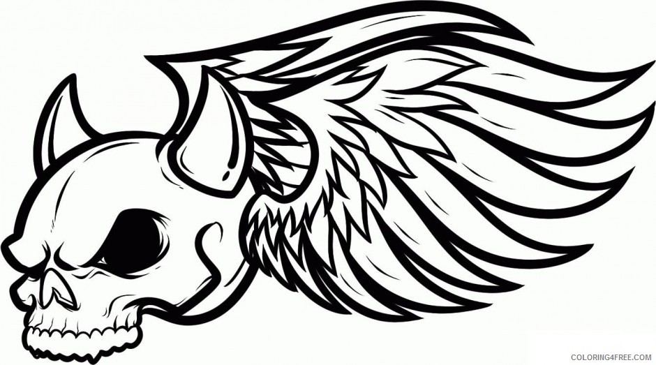 graffiti coloring pages winged skull Coloring4free