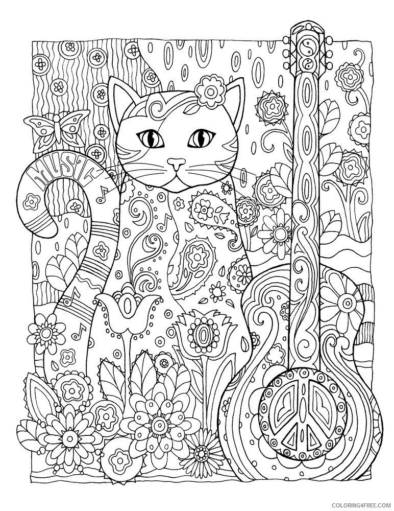 grown up coloring pages abstract cat and guitar Coloring4free