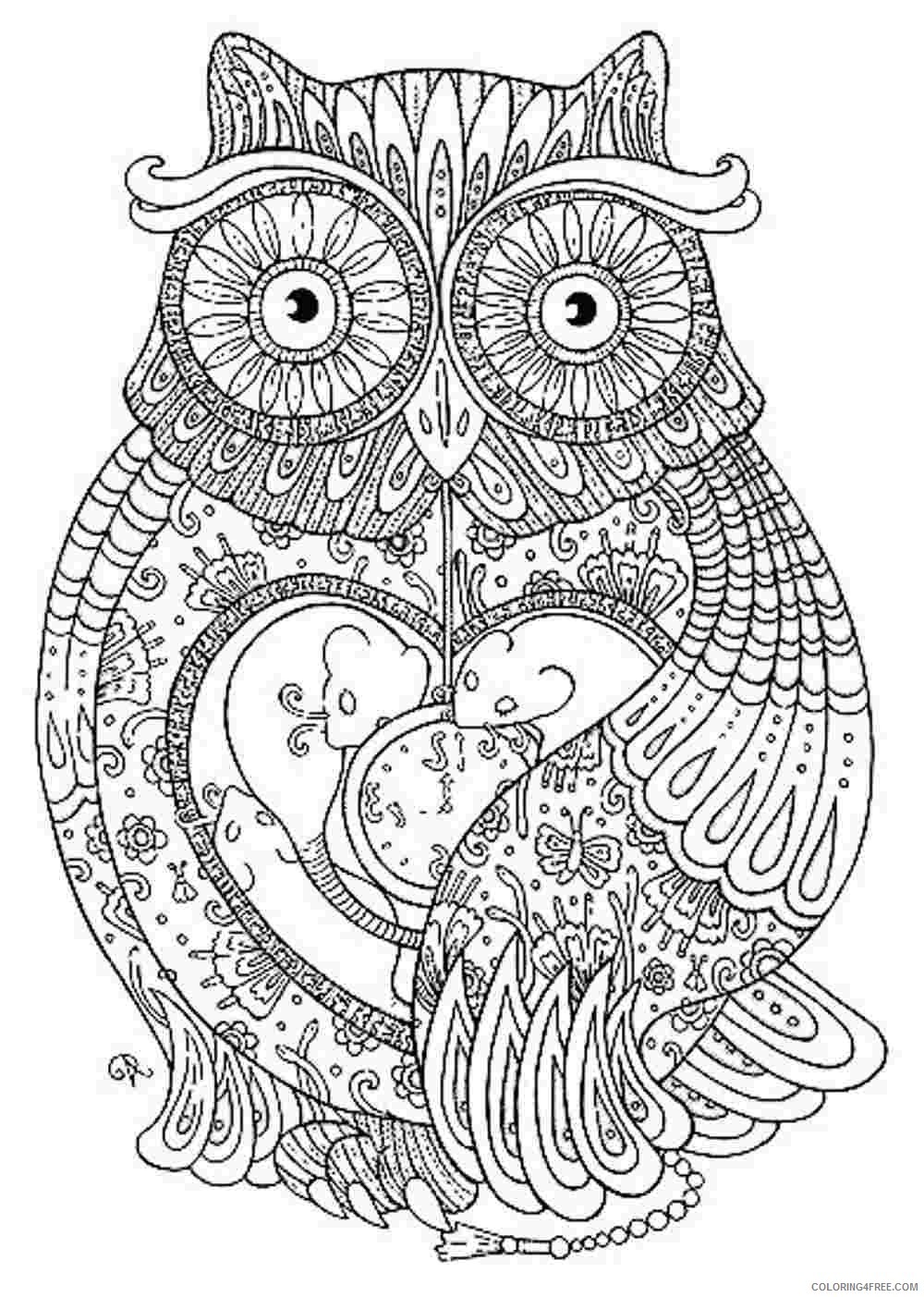 grown up coloring pages abstract owl Coloring4free