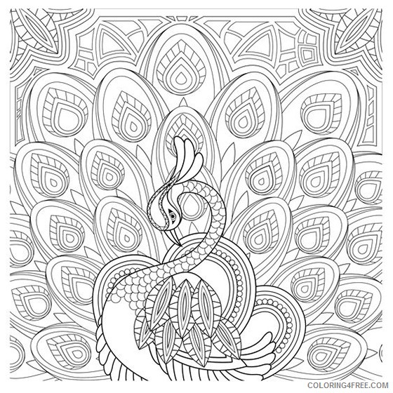 grown up coloring pages beautiful peacock Coloring4free