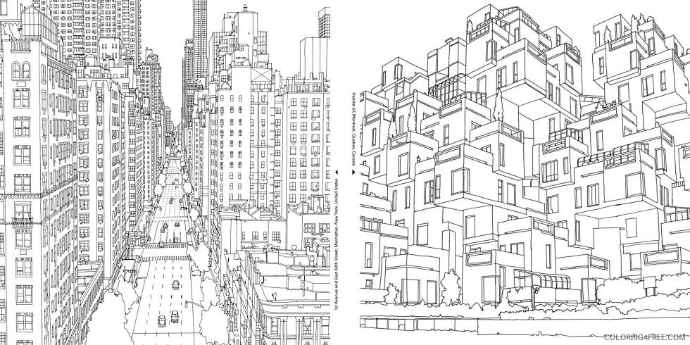 grown up coloring pages cityscape Coloring4free