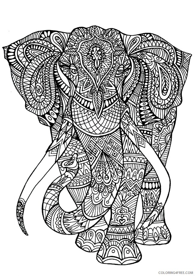 grown up coloring pages elephant Coloring4free