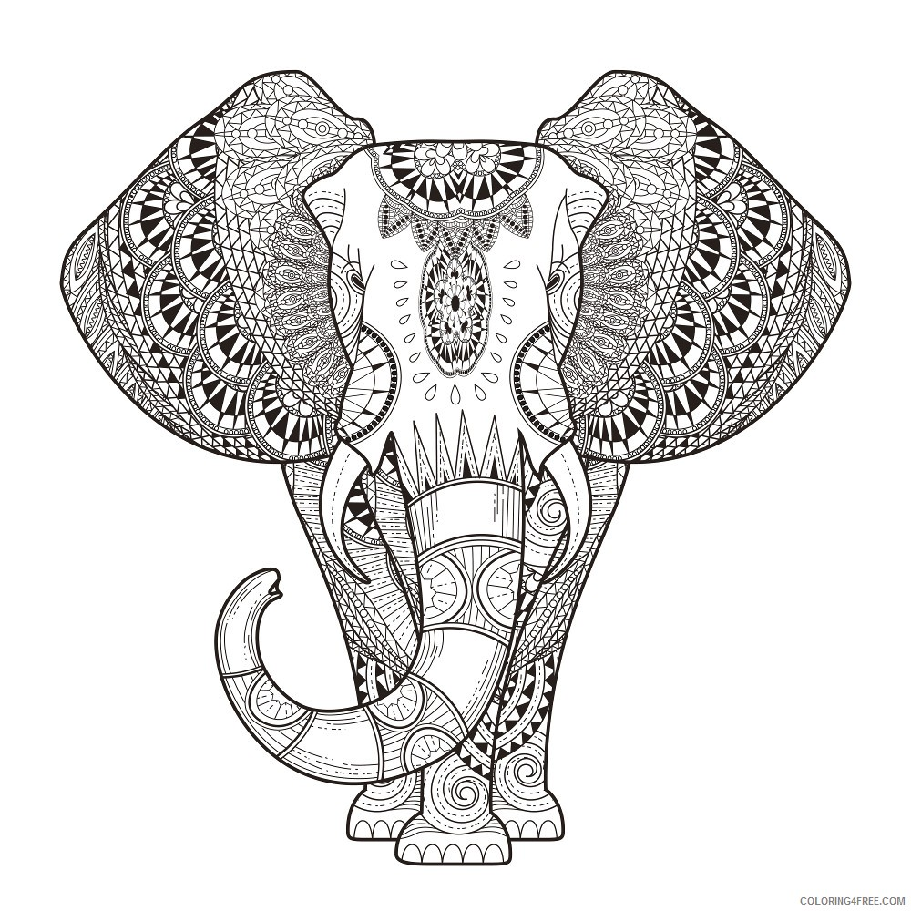 grown up coloring pages elephant animals Coloring4free