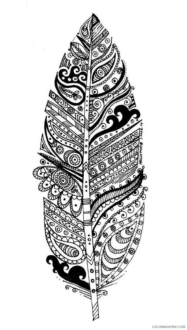 grown up coloring pages feather Coloring4free