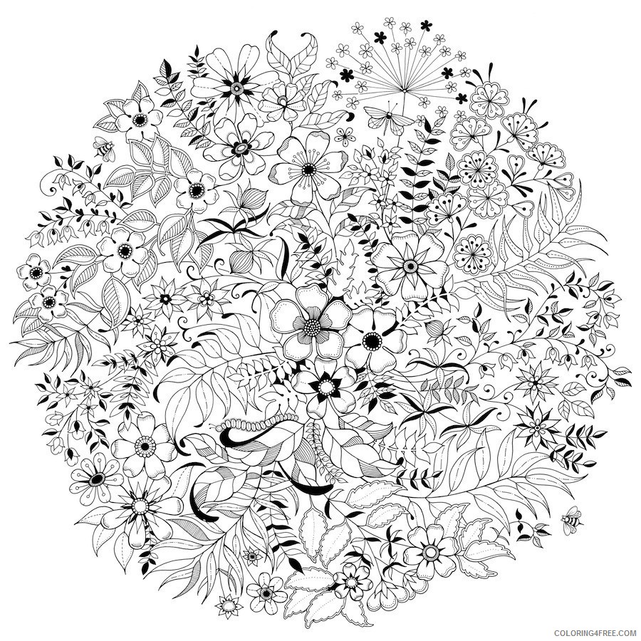 grown up coloring pages flowers Coloring4free