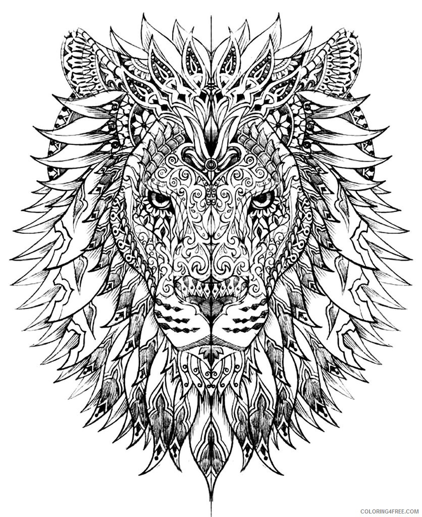 grown up coloring pages lion head Coloring4free