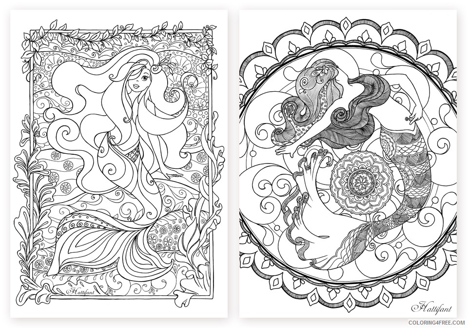 grown up coloring pages mermaids for girls Coloring4free