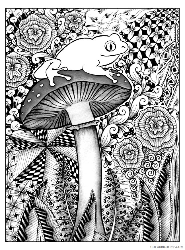 grown up coloring pages mushroom frog Coloring4free
