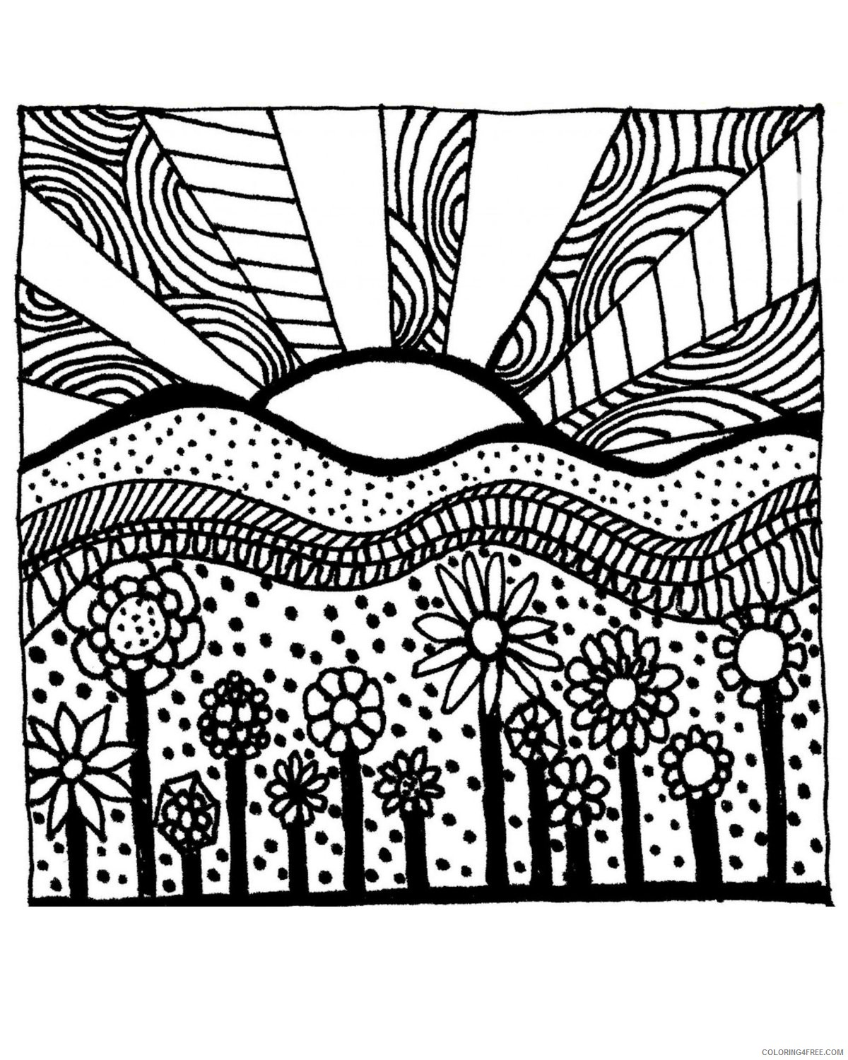 grown up coloring pages sunset Coloring4free