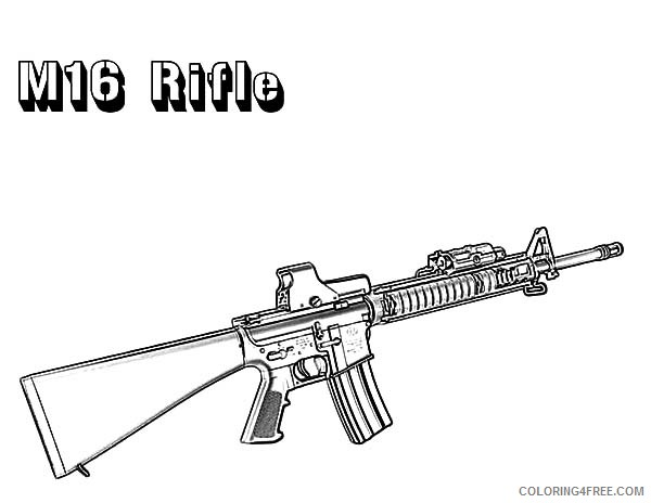 gun coloring pages m16 rifle Coloring4free