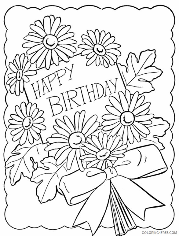 happy birthday coloring pages for girls with flower Coloring4free